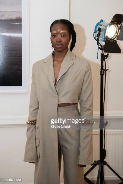 A model at the Maison Bent AW20 Presentation at Pushkin House on February 06 2020 in London England