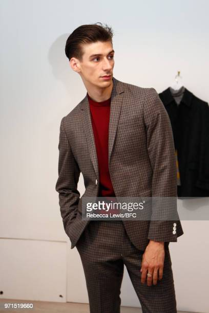 A model at the Mr Start presentation at the DiscoveryLAB during London Fashion Week Men's June 2018 at the BFC Show Space on June 11 2018 in London...