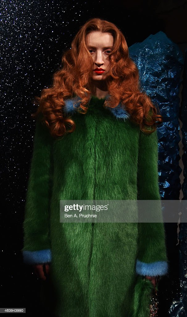 A model at the Shrimps presentation during London Fashion Week Fall/Winter 2015/16 at Somerset House on February 20, 2015 in London, England.