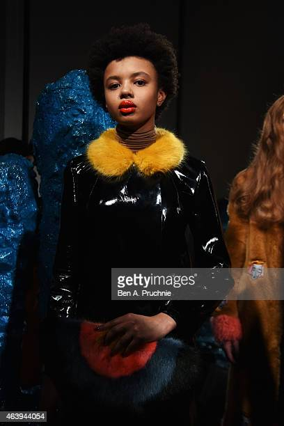 A model at the Shrimps presentation during London Fashion Week Fall/Winter 2015/16 at Somerset House on February 20 2015 in London England