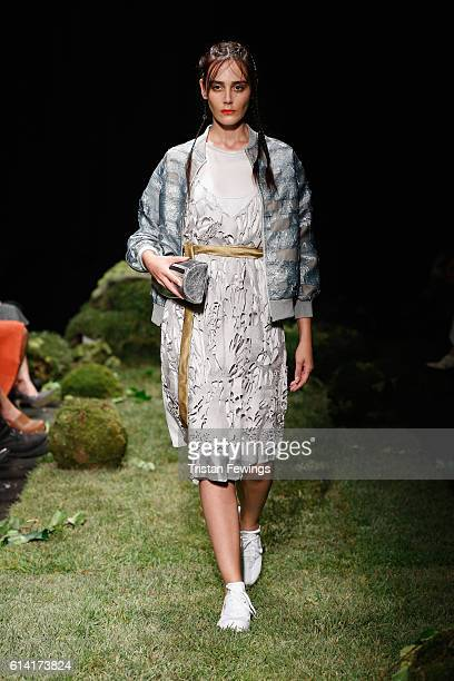A model at the Tuba Ergin presentation during MercedesBenz Fashion Week Istanbul at Zorlu Center on October 12 2016 in Istanbul Turkey