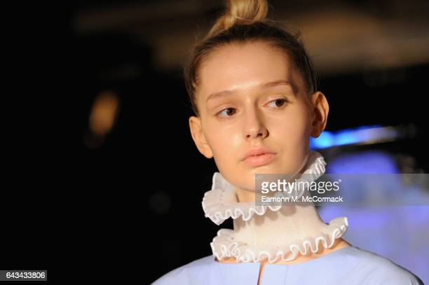 A model at the XIAO LI presentation during the London Fashion Week February 2017 collections on February 21 2017 in London England