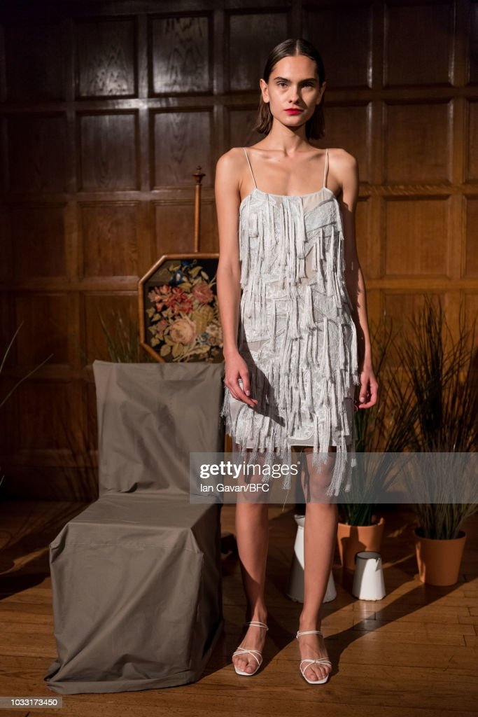 A model at the XU ZHI presentation during London Fashion Week September 2018 at 2 Temple Place, on September 14, 2018 in London, England.