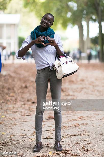 Model Ataui Deng after the Hermes Paris Fashion Week Spring/Summer 2014 womenswear shows in October 2013 in Paris France