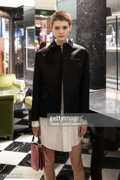 A model attends Double Exposure book signing at Prada Faubourg St Honoré on February 27 2019 in Paris France