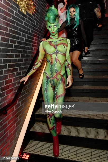 Model attends Heidi Klum's 20th Annual Halloween Party presented by Amazon Prime Video and SVEDKA Vodka at Cathédrale New York on October 31, 2019 in...