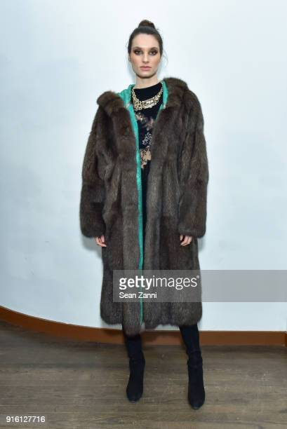 Model attends Helen Yarmak Fashion House Fall/Winter 2019 Black Mood Collection at The Crown Building on February 8 2018 in New York City