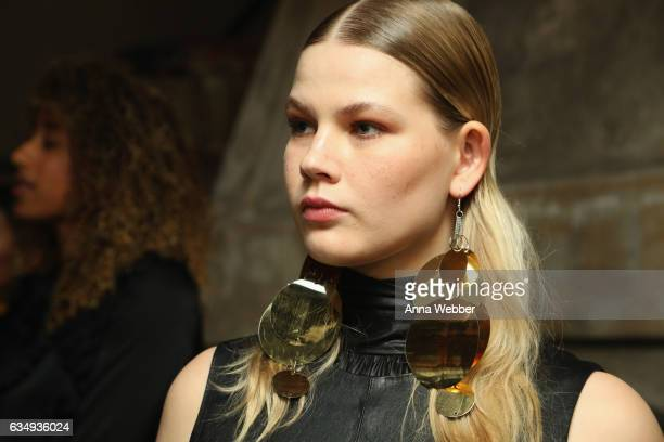 A model attends Mary Kay at Tracy Reese F/W'17 presentation and backstage on February 12 2017 in New York City