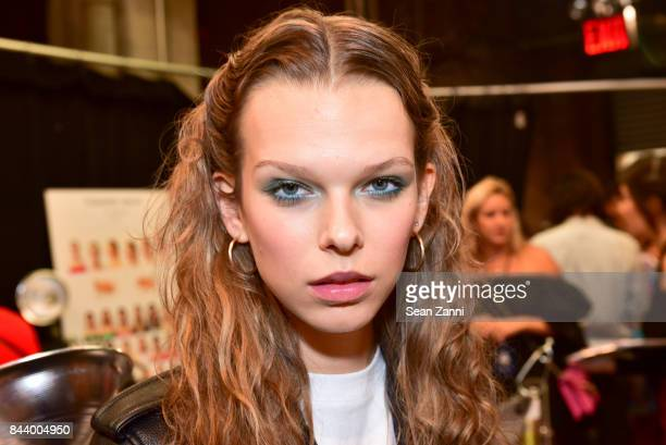 Model attends Tadashi Shoji Backstage September 2017 New York Fashion Week The Shows at Gallery 1 Skylight Clarkson Sq on September 7 2017 in New...