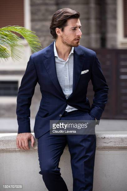 Model attends the Brunello Cucinelli SS22 Menswear Collection Presentation on June 19, 2021 in Milan, Italy.