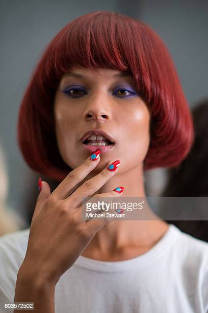 Model attends the Jeremy Scott fashion show during September 2016 New York Fashion Week: The Shows at The Arc, Skylight at Moynihan Station on...