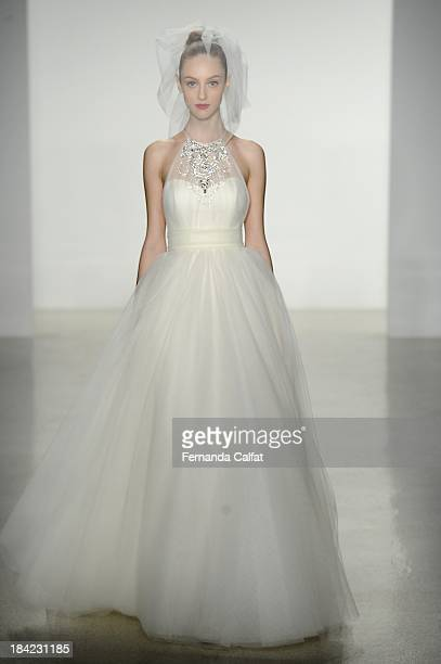 A model attends the Kenneth Pool Fall 2014 Bridal collection show at EZ Studios on October 12 2013 in New York City