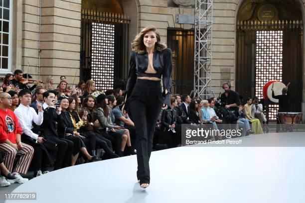 """Model attends the """"Le Defile L'Oreal Paris"""" show as part of Paris Fashion Week At Monnaie de Paris on September 28, 2019 in Paris, France."""