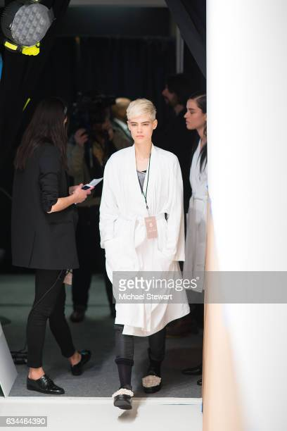 A model attends the Noon by Noor show during February 2017 New York Fashion Week The Shows at Gallery 3 Skylight Clarkson Sq on February 9 2017 in...