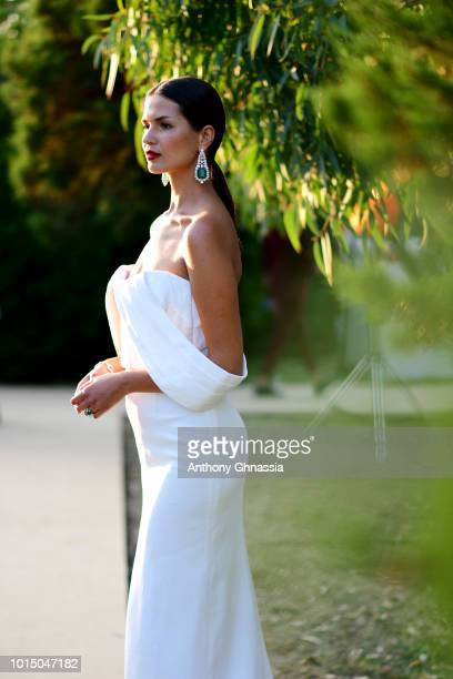 A model attends the Unicef Summer Gala Presented by Luisaviaroma cocktail party at Villa Violina on August 10 2018 in Porto Cervo Italy