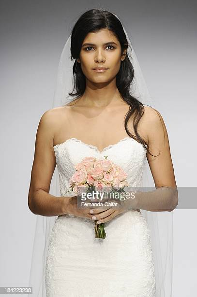 Model attends the WTOO Watters Fall 2014 Bridal collection show at the Hilton New York on October 12 2013 in New York City