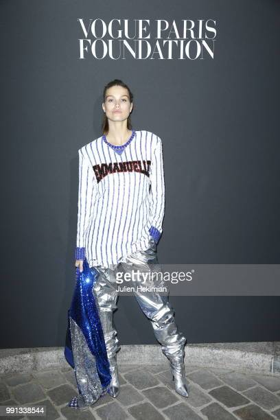 A model attends Vogue Foundation Dinner Photocall as part of Paris Fashion Week Haute Couture Fall/Winter 20182019 at Musee Galliera on July 3 2018...