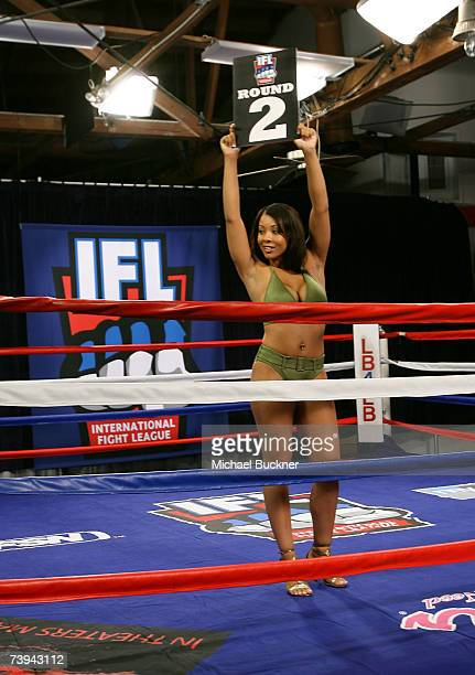 A model auditions for the next ring gilr at the International Fight League's search for the next Ring Girl at the Lb4Lb Gym on April 21 2007 in Los...