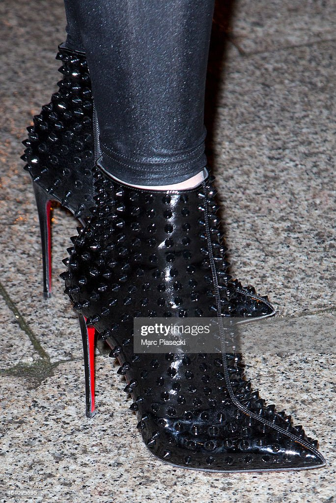 Model Audrey Marnay (shoe detail) arrives at the Alexis Mabille show as part of Paris Fashion Week Haute-Couture Spring/Summer 2014 on January 20, 2014 in Paris, France.