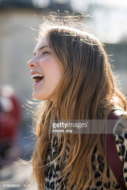 Model Avery Tharp exits the Carven show in a Topshop jacket Day 3 of Paris Fashion Week FW15 on March 5 2015 in Paris France