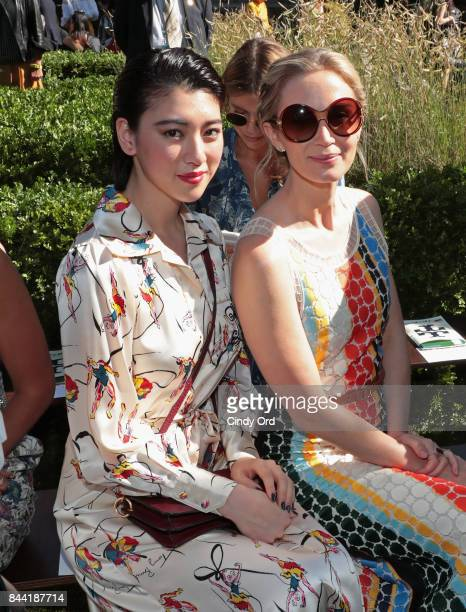 Model Ayaka Miyoshi and actress Emily Blunt attend the Tory Burch Spring Summer 2018 Fashion Show at Cooper Hewitt Smithsonian Design Museum on...
