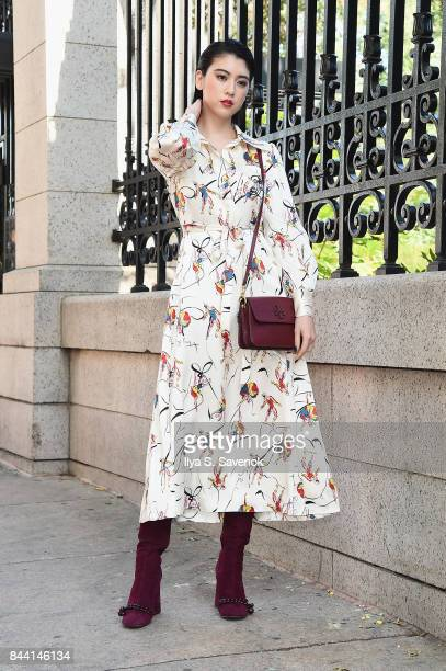 Model Ayaka Miyoshi attends the Tory Burch Spring Summer 2018 Fashion Show at Cooper Hewitt Smithsonian Design Museum on September 8 2017 in New York...
