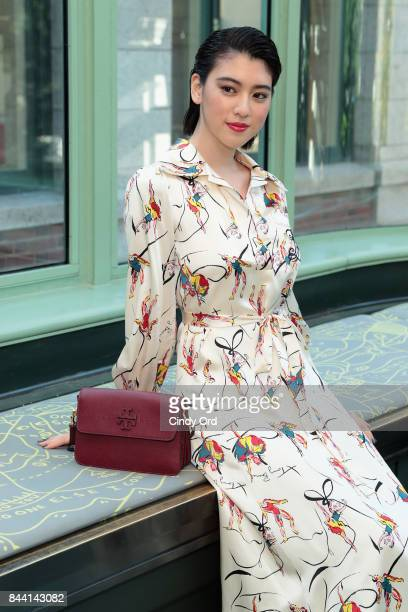Model Ayaka Miyoshi poses backstage during the Tory Burch Spring Summer 2018 Fashion Show at Cooper Hewitt Smithsonian Design Museum on September 8...