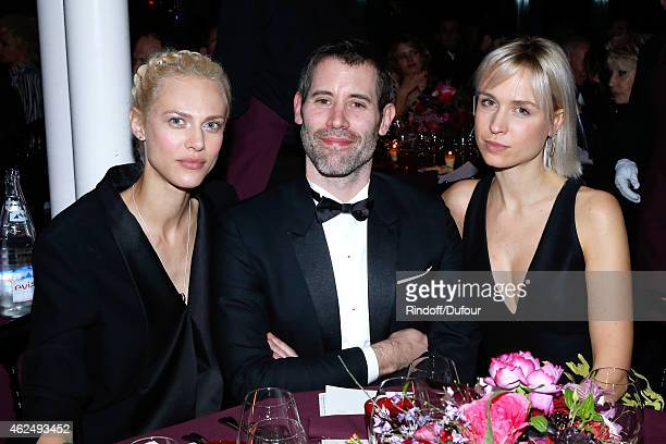 Model Aymeline Valade Actor Jalil Lespert and AnneSophie Mignaux attend the Sidaction Gala Dinner 2015 at Pavillon d'Armenonville on January 29 2015...