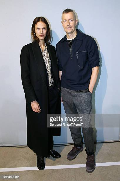 Model Aymeline Valade and Stylist of 'Lanvin Men' Lucas Ossendrijver attend the Lanvin Menswear Fall/Winter 20172018 show as part of Paris Fashion...