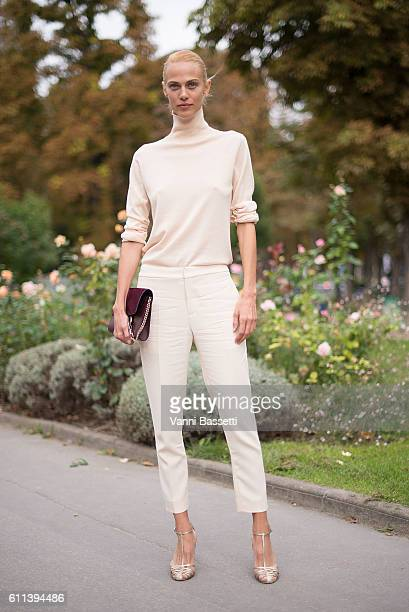 Model Aymeline Valade poses wearing Chloe after the Chloe show at the Grand Palais during Paris Fashion Week Womenswear SS17 on September 29 2016 in...