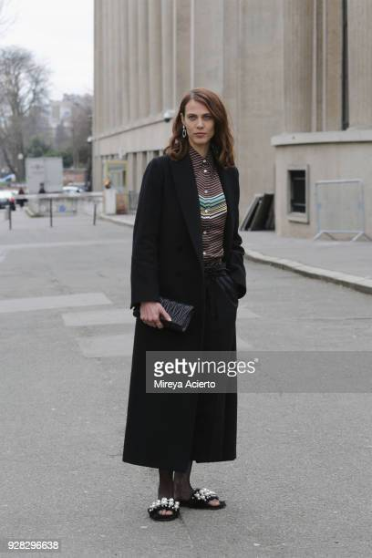 Model Aymeline Valade seen at the Miu Miu fashion show during Paris Fashion Week Womenswear Fall/Winter 2018/2019 on March 6, 2018 in Paris, France.