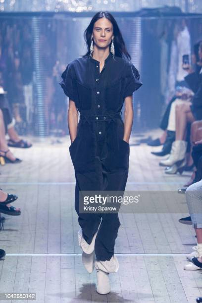 Model Aymeline Valade walks the runway during the Isabel Marant show as part of Paris Fashion Week Womenswear Spring/Summer 2019 on September 27 2018...