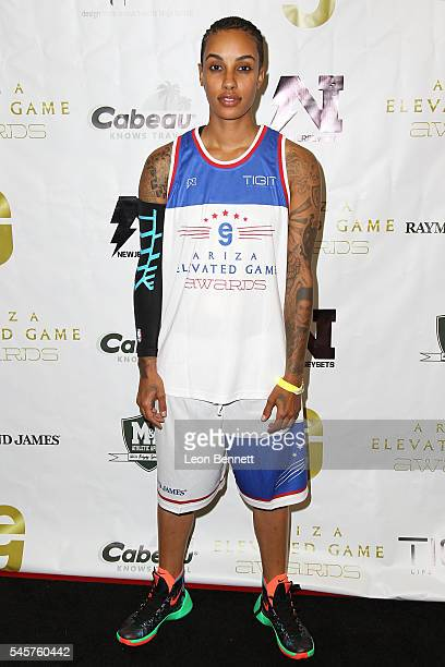 Model AzMarie Livingston attends Trevor Ariza's 2nd Annual AEGA Celebrity Basketball Game at Taft High School on July 9 2016 in Woodland Hills...