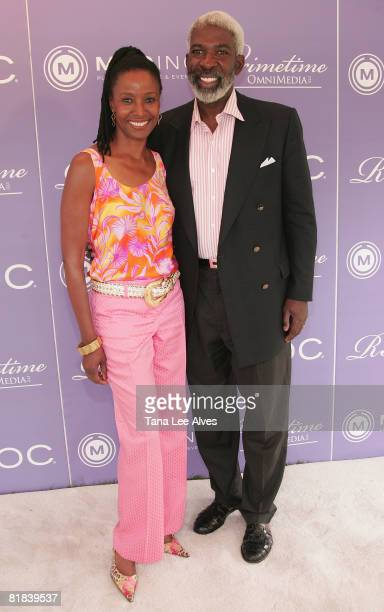 Model B Smith and husband Dan Gasby attend Celebrating The Legacy Of Business Icon Reginald F Lewis at the estate of Loida Lewis July 4 2008 in Sag...