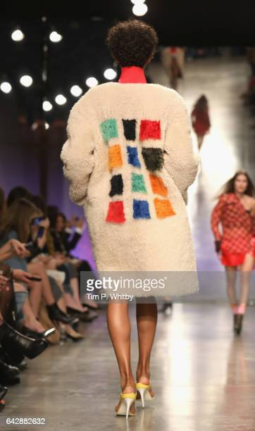 A model back detail walks the runway at the Topshop Unique show during the London Fashion Week February 2017 collections on February 19 2017 in...