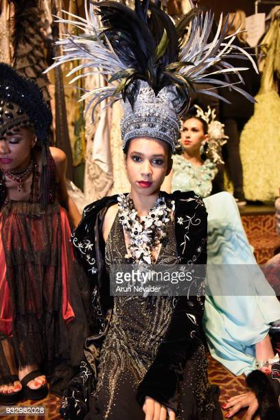 A model backcstage at Los Angeles Fashion Week Powered by Art Hearts Fashion LAFW FW/18 10th Season Anniversary Backstage and Front Row Day 5 at The...