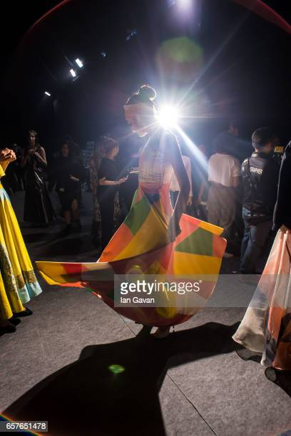 A model backstage ahead of the 6 Degree Vedika M Birdwalk show at Fashion Forward March 2017 held at the Dubai Design District on March 25 2017 in...