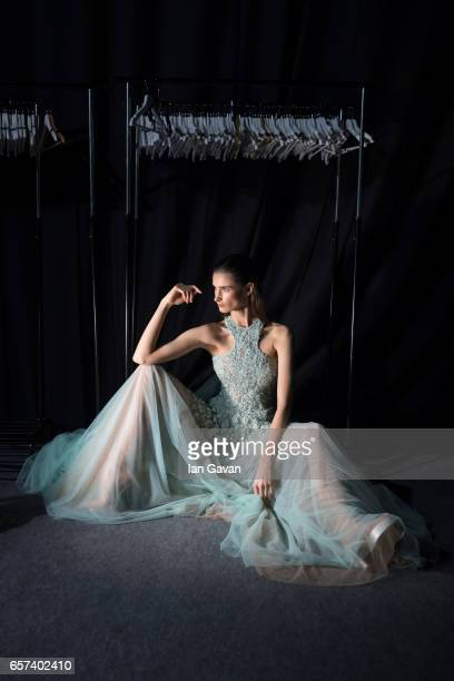 A model backstage ahead of the Abed Mafouz Presented by Lux show at Fashion Forward March 2017 held at the Dubai Design District on March 24 2017 in...