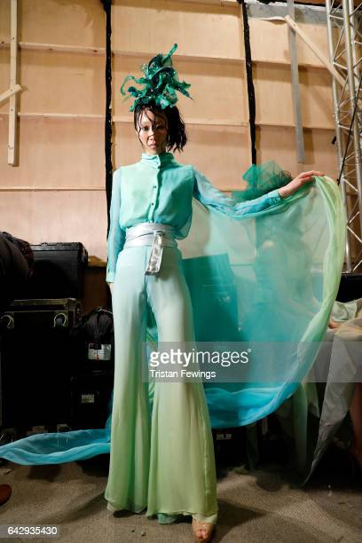 A model backstage ahead of the Alexis Carballosa show during the London Fashion Week February 2017 collections on February 19 2017 in London England
