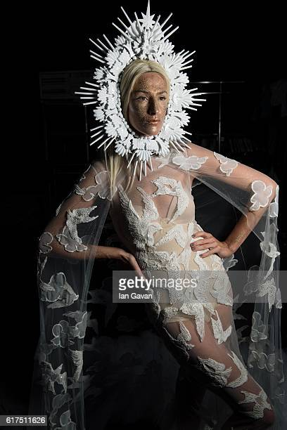 A model backstage ahead of the Amato show during Fashion Forward Spring/Summer 2017 at the Dubai Design District on October 23 2016 in Dubai United...