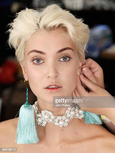 A model backstage ahead of the Angel Chen runway show at Fashion Scout during London Fashion Week Spring/Summer collections 2017 on September 16 2016...