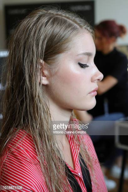 Models are seen backstage ahead of the Anne Karine Thorbjornsen show during Oslo Runway SS19 at Bankplassen 4 on August 14 2018 in Oslo Norway