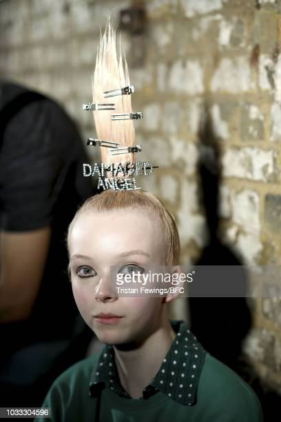 A model backstage ahead of the Ashley Williams presentation during London Fashion Week September 2018 at the House of Vans on September 14 2018 in...