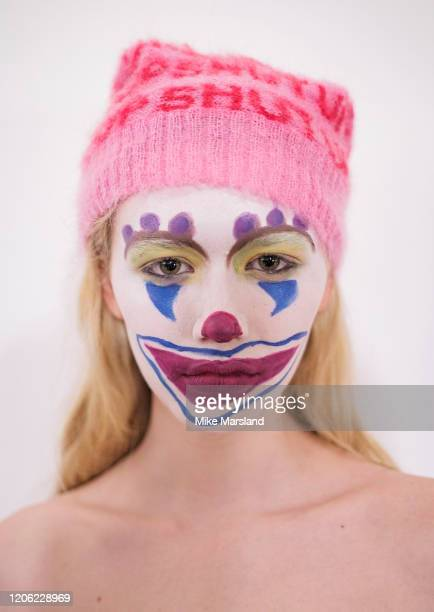 Model backstage ahead of the Ashley Williams show during London Fashion Week February 2020 at the BFC Show Space on February 14, 2020 in London,...
