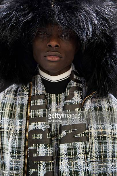 A model backstage ahead of the Astrid Anderson show during The London Collections Men AW16 at Victoria House on January 9 2016 in London England