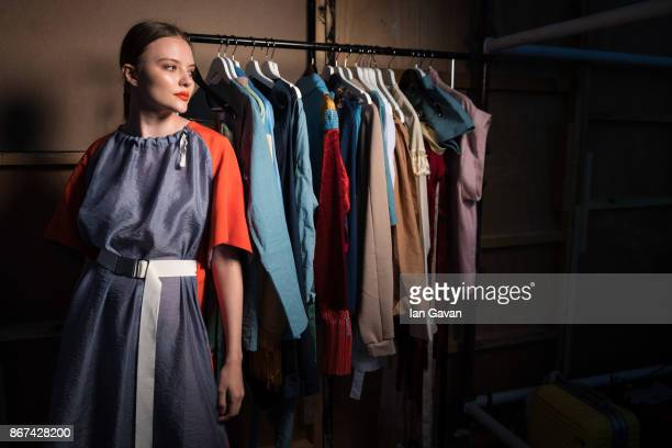 A model backstage ahead of the Asya Krasnaya Presentation during Fashion Forward October 2017 held at the Dubai Design District on October 28 2017 in...