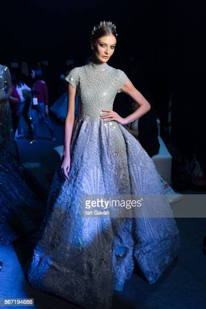 A model backstage ahead of the Atelier Zuhra show during Fashion Forward October 2017 held at the Dubai Design District on October 27 2017 in Dubai...