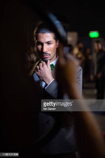 A model backstage ahead of the Behnoode show during the FFWD October Edition 2019 at the Dubai Design District on November 02 2019 in Dubai United...