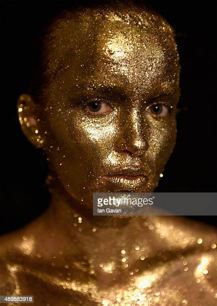 A model backstage ahead of the Belgrade Fashion Week Showcase at Fashion Scout during London Fashion Week Spring/Summer 2016 on September 22 2015 in...