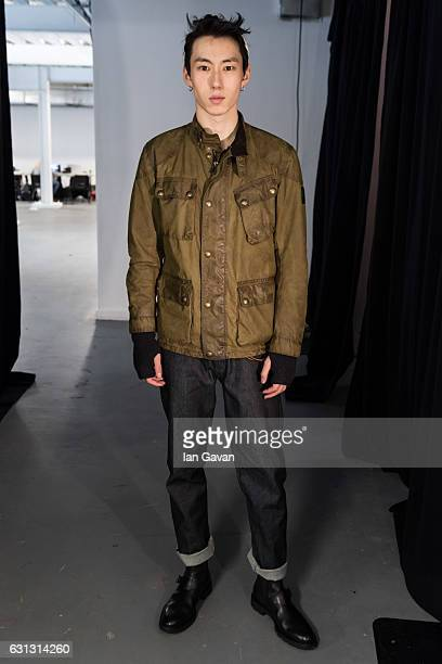 A model backstage ahead of the Belstaff presentation during London Fashion Week Men's January 2017 collections at Ambika P3 on January 9 2017 in...
